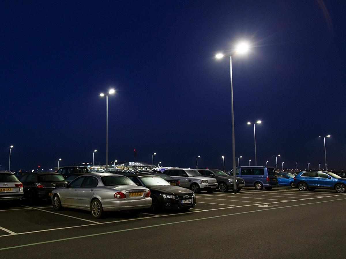 Airport parking lot at night