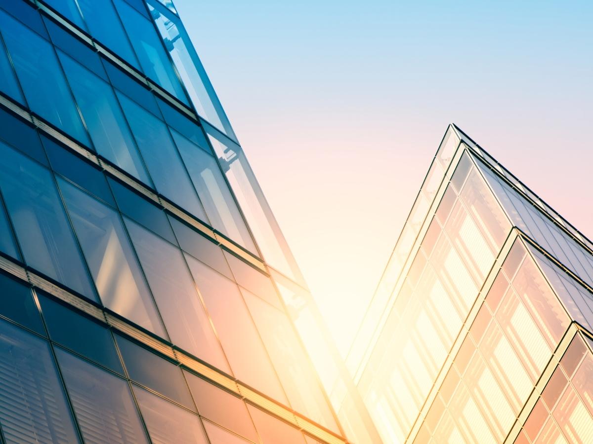 Modern office building in sunlight