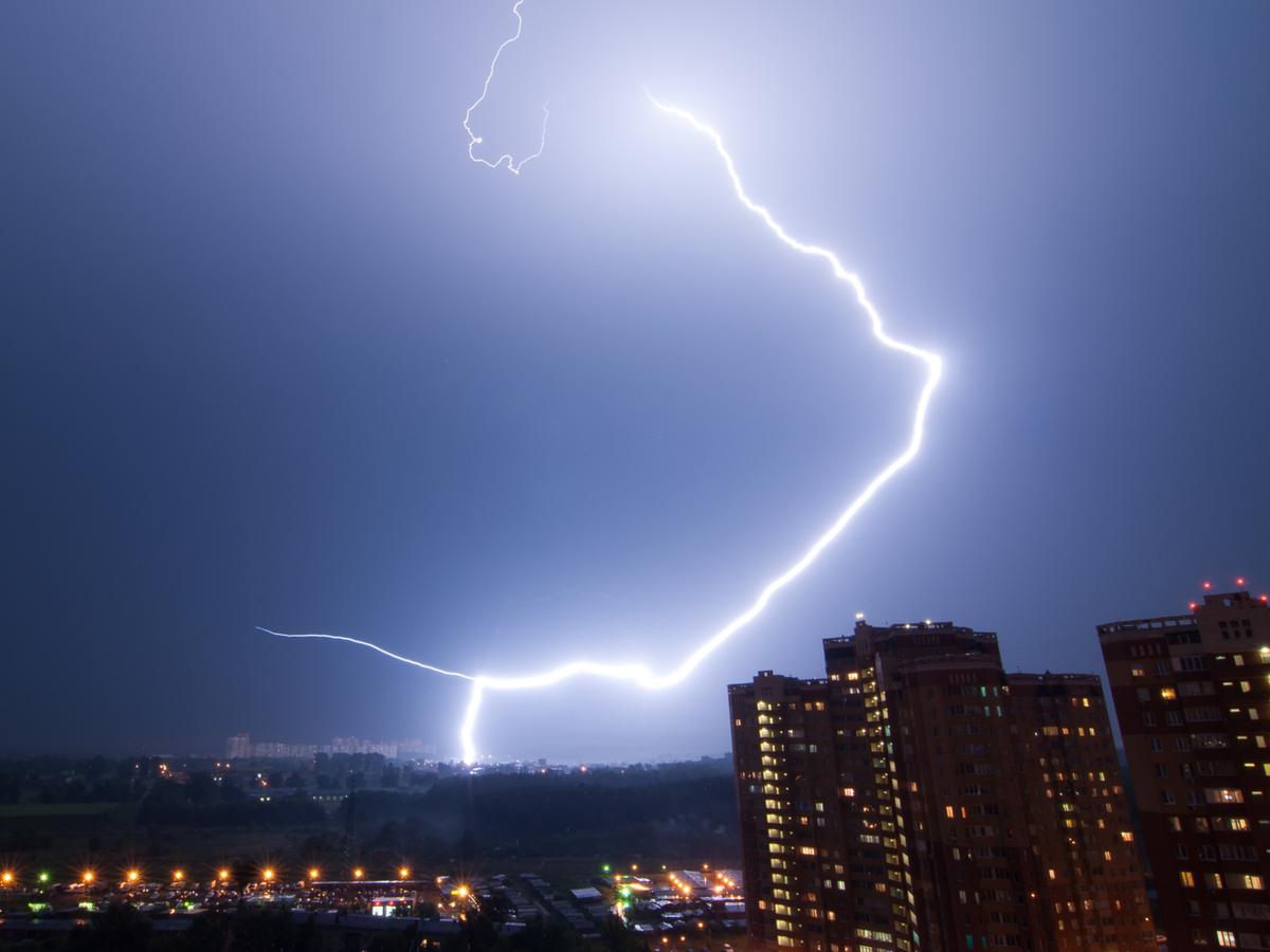 Lightning strike near buildings